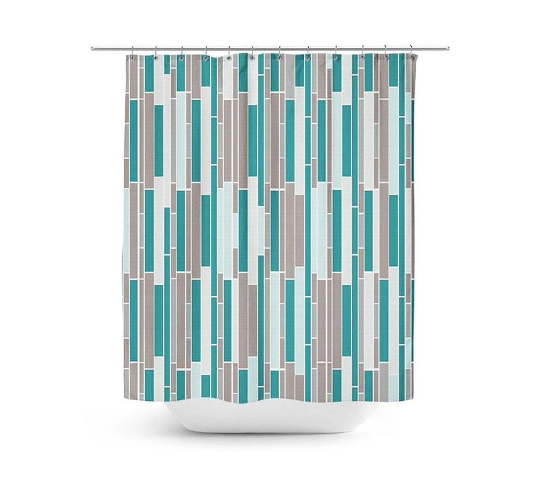 Shower Curtain Subway Tile Bath Teal Grey Taupe