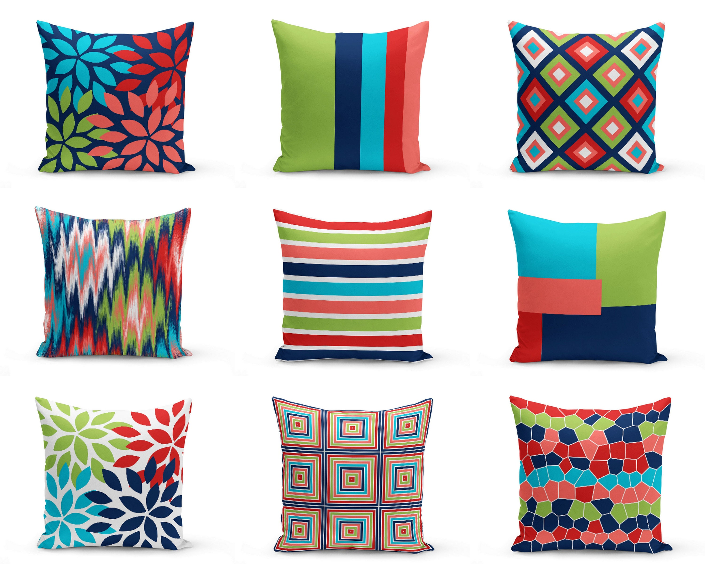 Colorful Outdoor Pillows Red Navy Blue Green Coral White