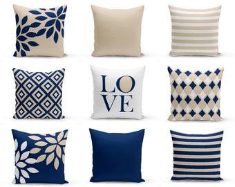 Outdoor Pillows, Navy White Sand , Outdoor Home Decor, Outdoor Throw Pillows