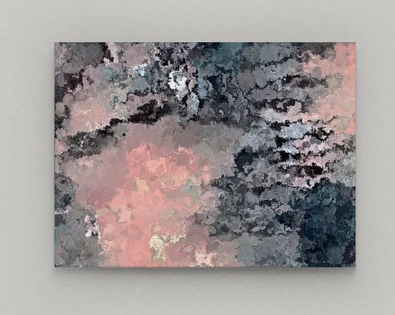 Navy Pink Wall Art Canvas Navy Pink Grey Black White Wall Etsy