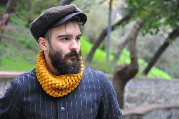 Mens-Loop-Schal stricken Kutte klobigen Haube Männer Snood   Etsy