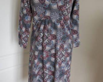 Fabulous Mantaray Burgundy Pink Blue Elastic Cotton Dress M L