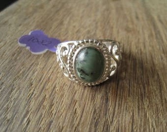 Sterling Silver Oval Zoisite Cut-Out Scroll Ring Size 10, 10.25 (1082)
