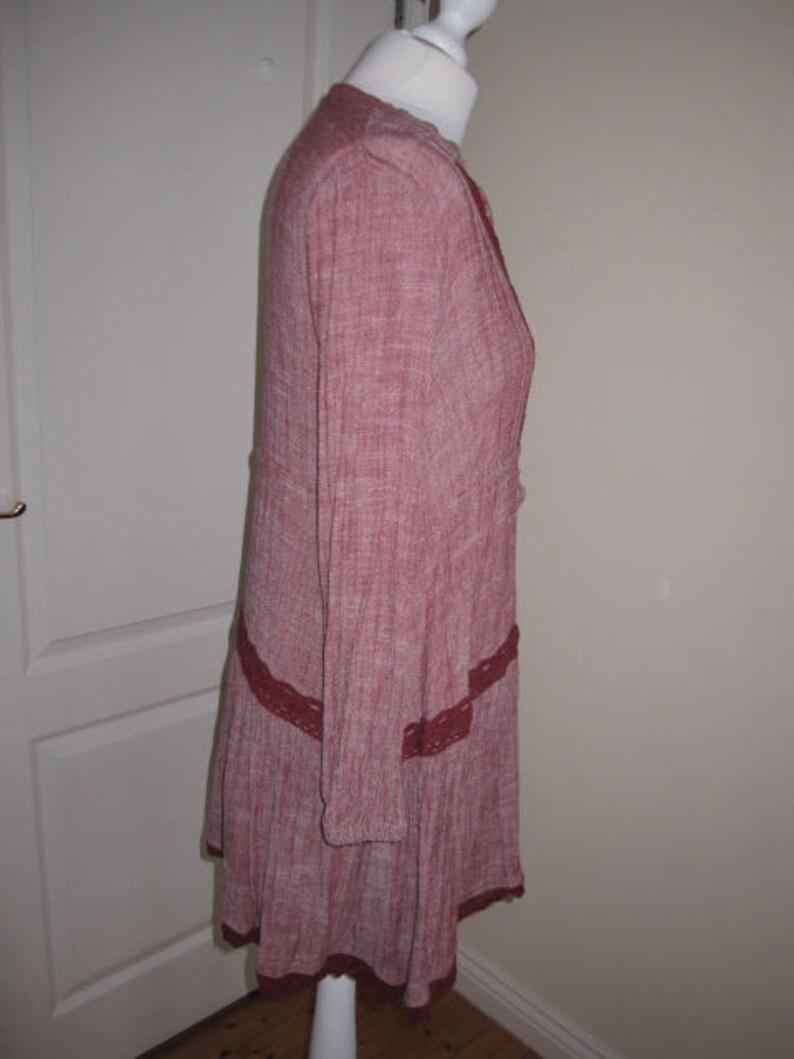 Handmade Dark Burgundy Cotton Linen Tunics Top Dress M