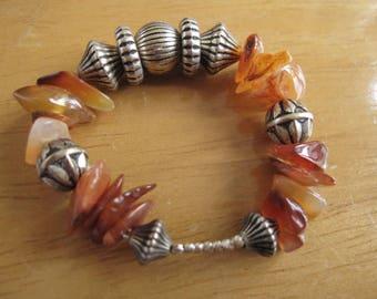 Alpaca Silver Natural Orange Brown Nugget Stones And Corrugated Beads Napkin Rings Pair (1187)