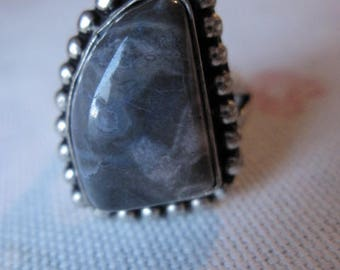 Alpaca Silver Pebbled Purple Agate Ring 8.75 (2028)