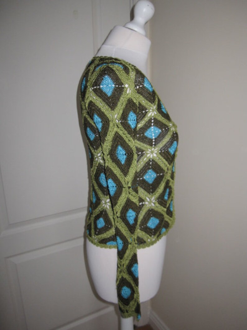 Vintage Morgan Tricot Olive Green Crochet Opened Front Cardigan Blazer S