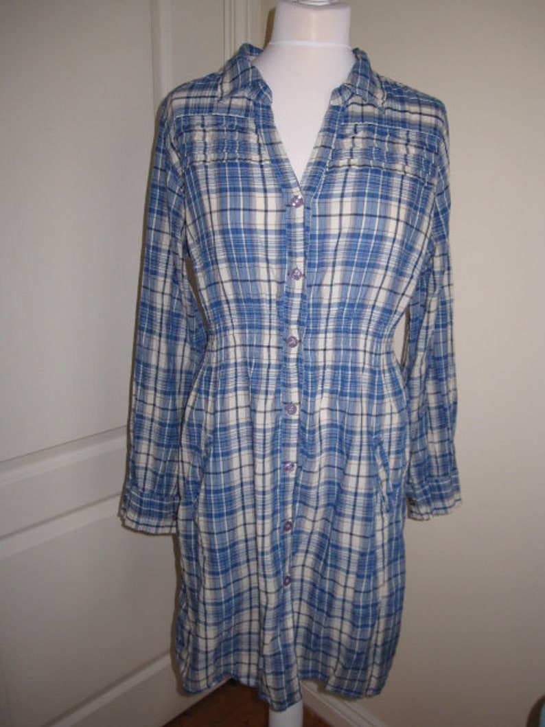 Vintage Indiska Cotton Blue Check Long Shirt Blouse L