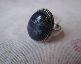 Sterling Silver Braided Lapis Lazuli Ring 8.25 (1953)