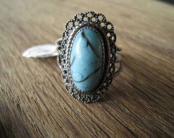Sterling Silver Adjustable Oval Turquoise Flower Ring Size 6.5-7.5 (265)