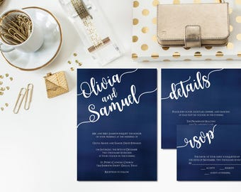 Midnight Navy Wedding Invitation Suite