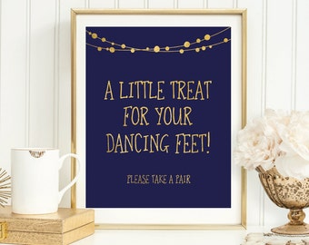 5edebee09adc2f Navy and Gold Dancing Shoes Sign