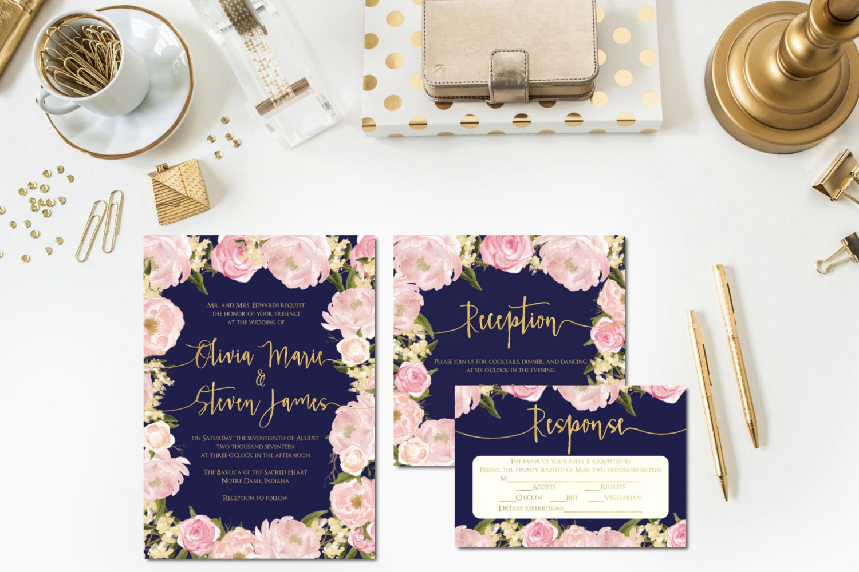 Navy And Gold Wedding Invitations: Navy Blush Gold Wedding Invitations Reception Card