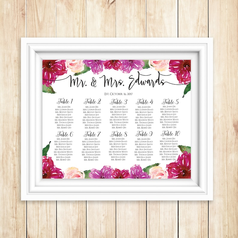 Mulberry Wedding Seating Chart