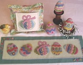 Easter Eggs on Parade Wool Table Runner, Stuffed Eggs and Small Pillow Kit (8 quot x 24 quot ) Kit Free Shipping