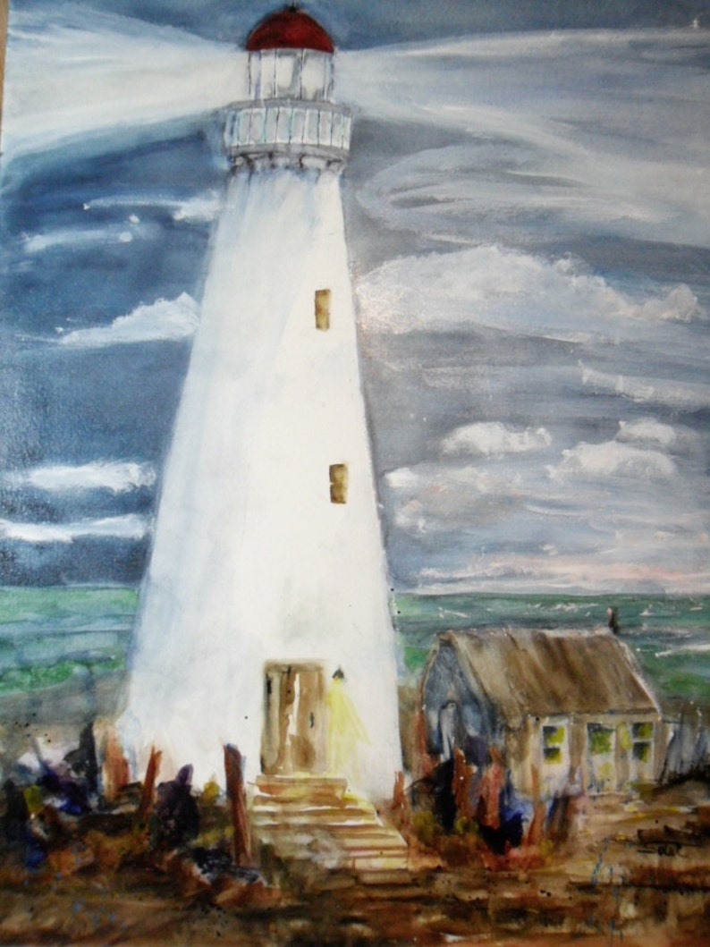 Lighthouse watercolor seascape painting with navy blue 18x24 - original  watercolor art - lighthouse decor - beach painting - light house art