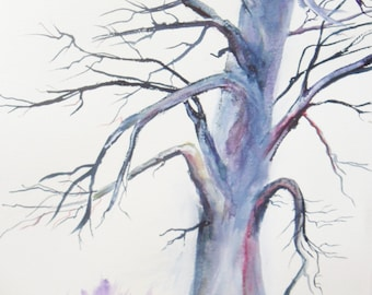 Winter tree original watercolor painting 15 1/4 x 22.5 inches, lone tree,  bare tree painting, winter decor, purple and blue tree art