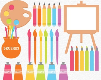Art Supplies Clipart - Children's Clipart, Paint Clipart, Painting Supplies Clipart, Planner Stickers, Painting Graphics, Scrapbook Clipart