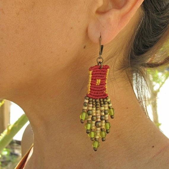 Burgundy Beaded Dangle Earrings