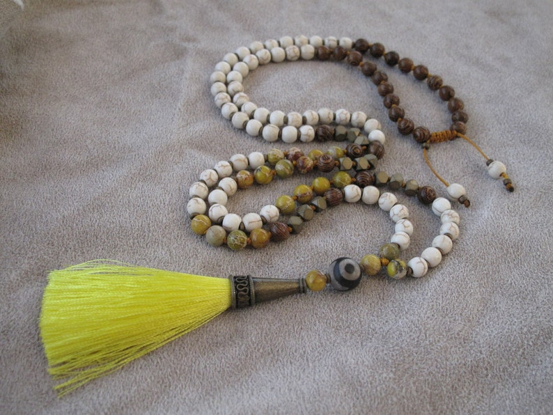 Mala Necklace With Gemstones And Yellow Tassel Fashion Jewelry For Women