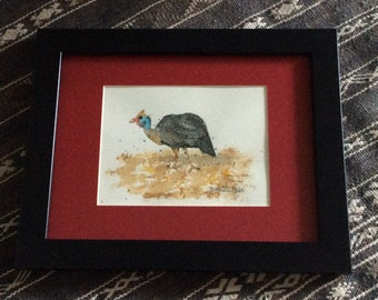 Blue Helmeted Guinea Fowl original painting matted and framed