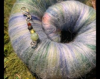 Autumn's Garden | Rolag & Stitch Marker | Mulberry Silk, Bamboo, Baby Camel Down, Merino, BFL, Angelina