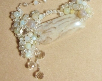 Feldspar, Moonstone, Rock Crystal Quartz and White Topaz Sterling Necklace, Wire Wrapped