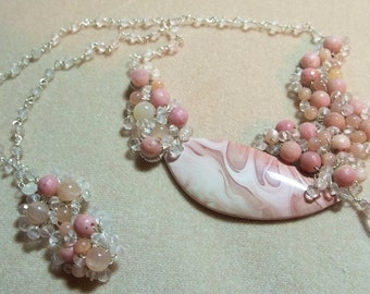 Willow Creek Jasper, Rose Quartz, Rhodonite and Peach Moonstone Sterling Necklace, Wire Wrapped, OOAK