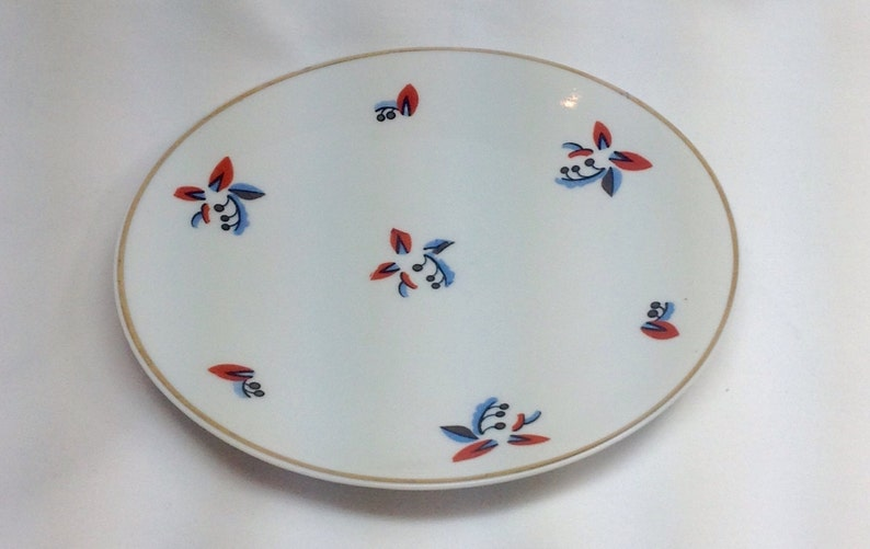 Vintage Germany Small Plate Dish Red Blue Abstract Art Flowers Floral Gold Trim Porcelain Old German Dinnerware Table Setting Piece