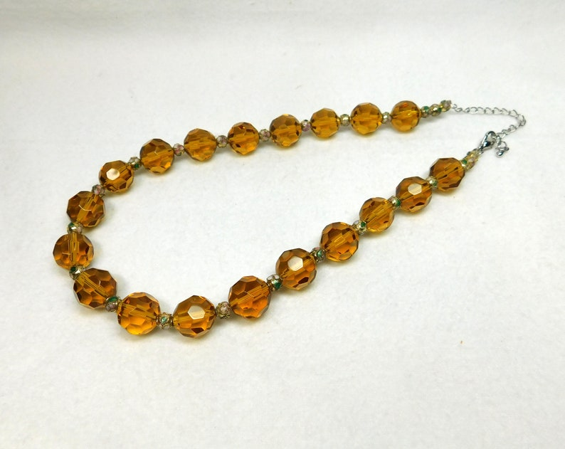 Vintage Glass Cloisonne Necklace Jewelry Amber Brown Tan Cut Glass Beads Cloisonne Silver Chain Choker Bridal Anniversary Love Gift