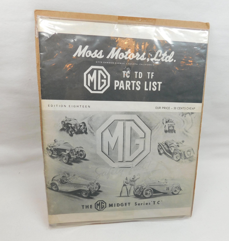 Vintage Moss Motors Ltd MG tc td tf Parts LIst Manual Midget Series Edition  Eighteen Goleta California Automobile Classic Car British Auto
