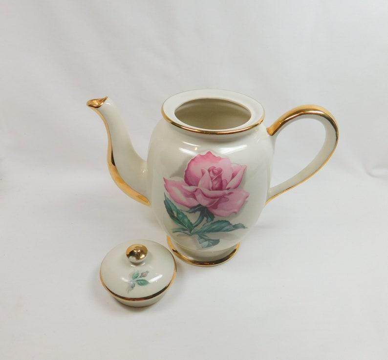 Vintage Pink Rose Teapot Large Flower Floral Gold Painted Handle Spout Trim Footed Porcelain Tea Pot Serving Formal Dining Wedding Decor