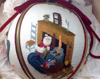 Vintage Embroidery Christmas Holiday Large Ornament Handmade Needlepoint Wool Velvet Ball Santa Claus Fireplace Tree Sled Bed Toys Train Kit