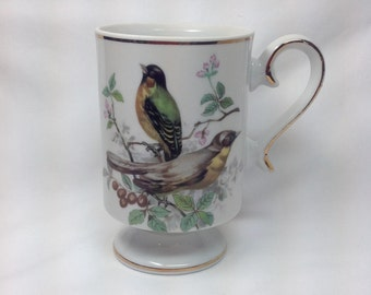 Vintage Royal Crown Footed Green Yellow Bird Footed Porcelain Cup Mug Gold Trim Finch Viveo