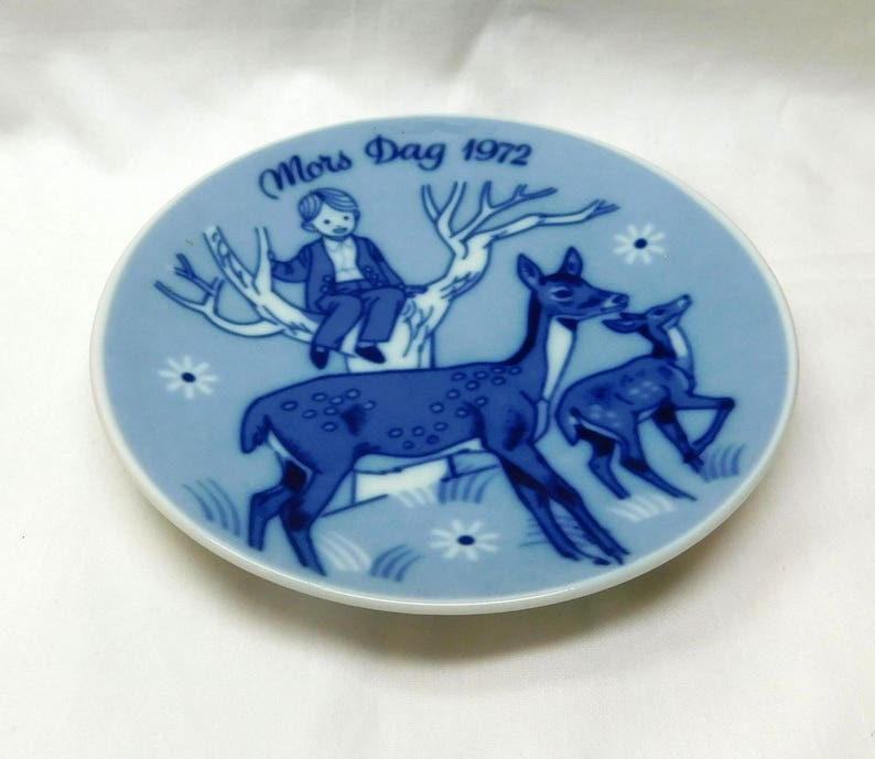 1972 Porcelain Small Plate Limited Third Issue Porsgrunds Norway Blue White Boy in Tree Deer Fawn Flower Gift Mothers Day Vintage Mors Dag