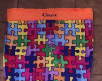 Personalized Mermaid Blanket in Puzzle Pieces with Orange Minky