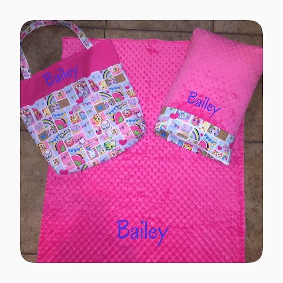 huge discount ad54d b6a18 Personalized sleep-over bag in Shopkins fabric with double-sided minky  blanket and travel size pillow case