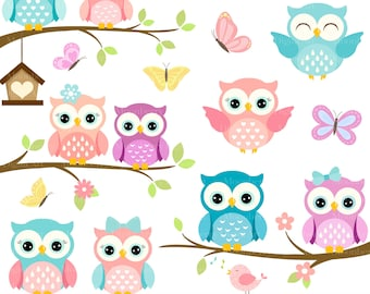 Owls Clipart 'CUTE OWL CLIPART' Digital Owls Clipart. Baby Shower Clipart. Pink Owls. Owl Clipart. Owl Birthday Invitation. Shower Clipart