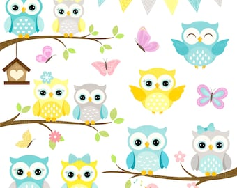 Owls Clipart 'CUTE OWL CLIPART' Digital Owls Clipart. Baby Shower Clipart. Yellow Owls. Owl Clipart. Owl Birthday Invitation. Shower Clipart