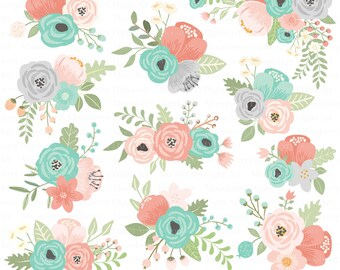Flower Clipart Floral Posies Clipart Wedding Etsy