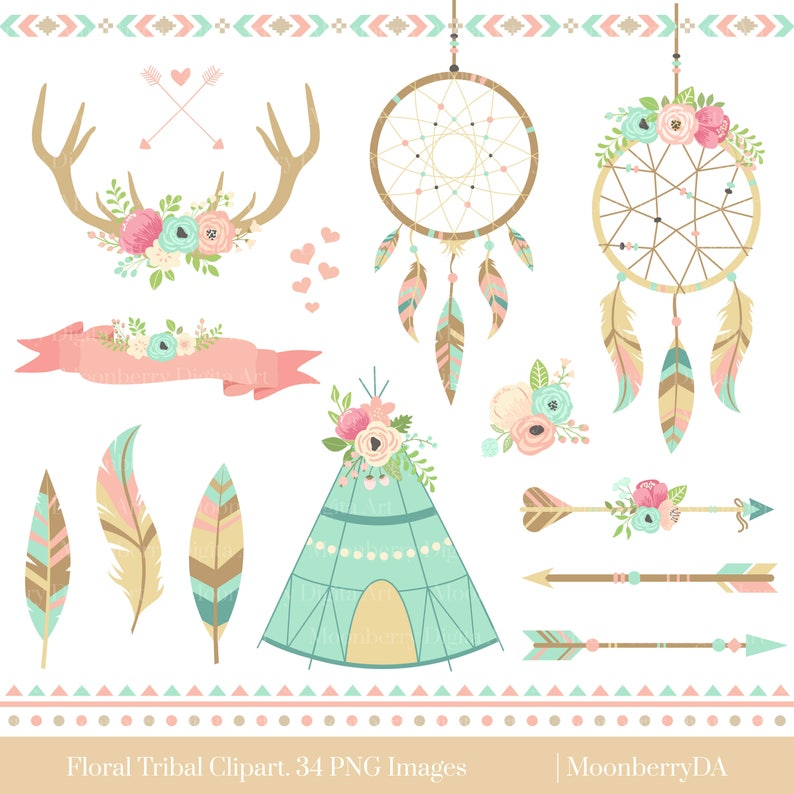 Dreamcatcher Tribal Clipart. Floral Teepee. Floral Arrows. image 1