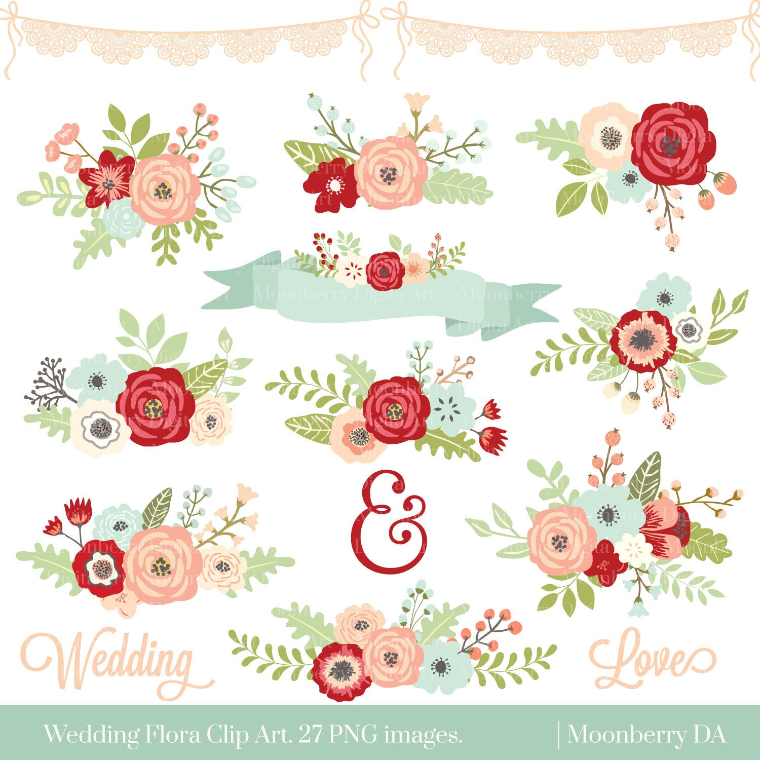 Wedding Floral Clipart Floral Clipart Flowers Etsy