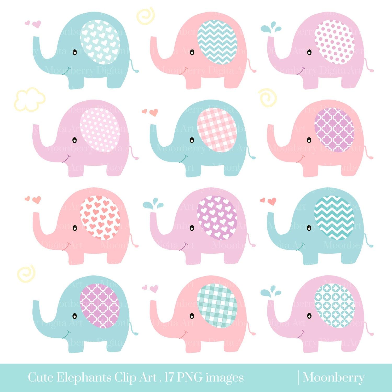 Cute Elephant Clip Art ELEPHANT CLIPART Baby   Etsy