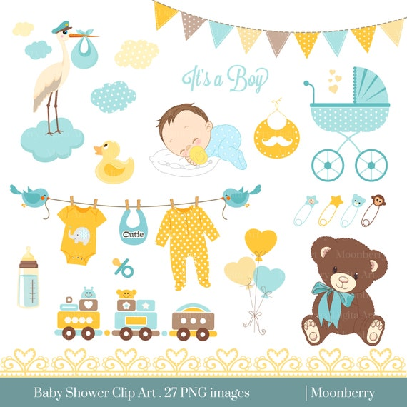 Baby Shower Clip Art Baby Shower Clip Art Baby Etsy