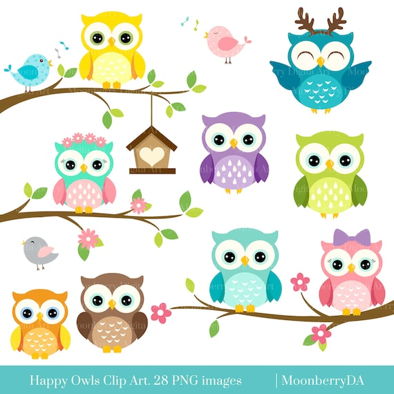 happy owls clip art digital owls clipart cute owls clipart rh etsy com owl clip art black and white owl clip art free images