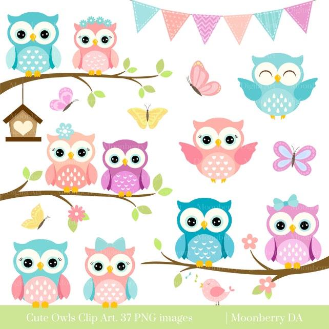 owls clipart cute owl clipart digital owls clipart etsy rh etsy com Cartoon Owl Clip Art pink baby owl clipart
