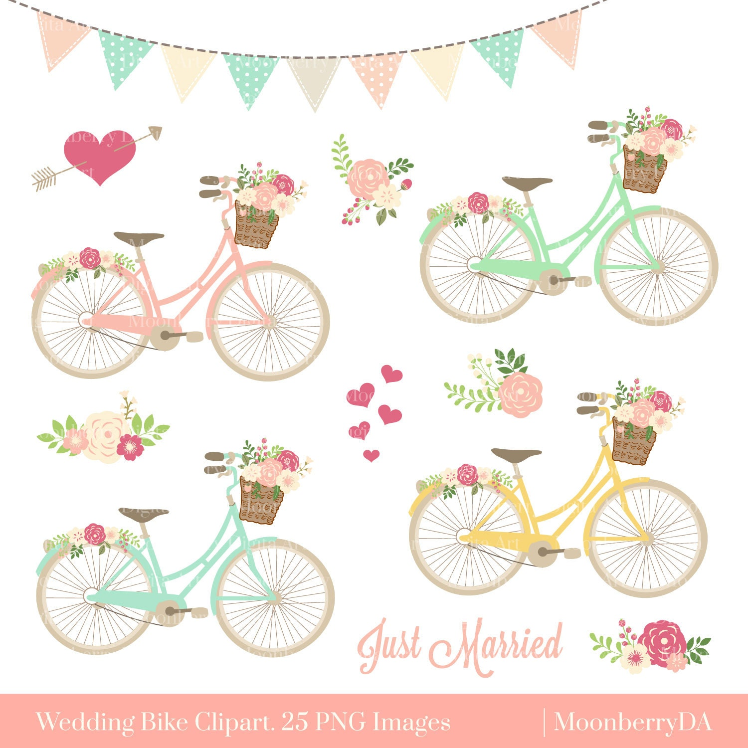 Bicycle Clipart BIKE CLIPART Floral Bicycle PNG | Etsy