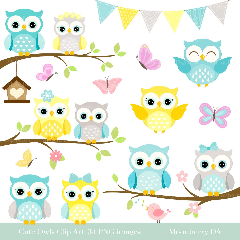Owls Clipart 'CUTE OWL CLIPART' Digital Owls Clipart.   Etsy