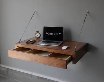 Floating Computer Desk With Storage | Walnut