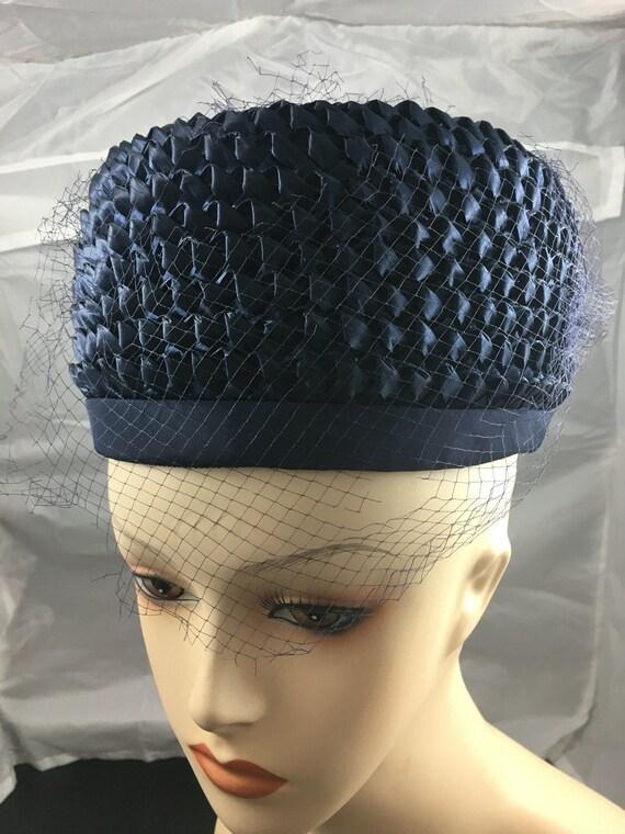 1950's navy blue straw pillbox hat - image 2